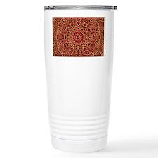 Red Orange Mosaic Flower kaleid Travel Mug
