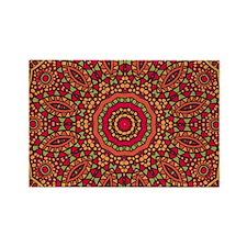 Red Orange Mosaic Flower kaleidos Rectangle Magnet