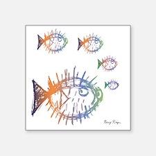 "Pufferfish Puffer Fishes Square Sticker 3"" x 3"""