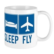 eat sleep fly Small Mugs