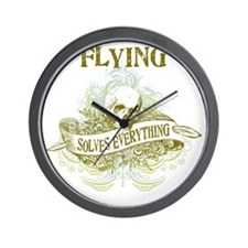 Flying Solves Everything Wall Clock
