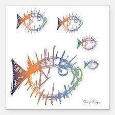 "School of Pufferfish Puf Square Car Magnet 3"" x 3"""