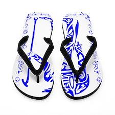 Blue and White Anubis Flip Flops