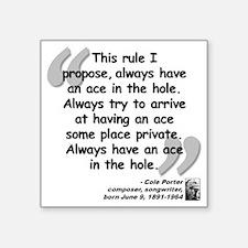 """Porter Ace Quote Square Sticker 3"""" x 3"""""""