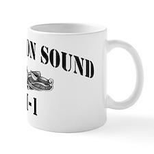 uss norton sound black letters Mug