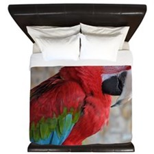 Green Wing Macaw King Duvet