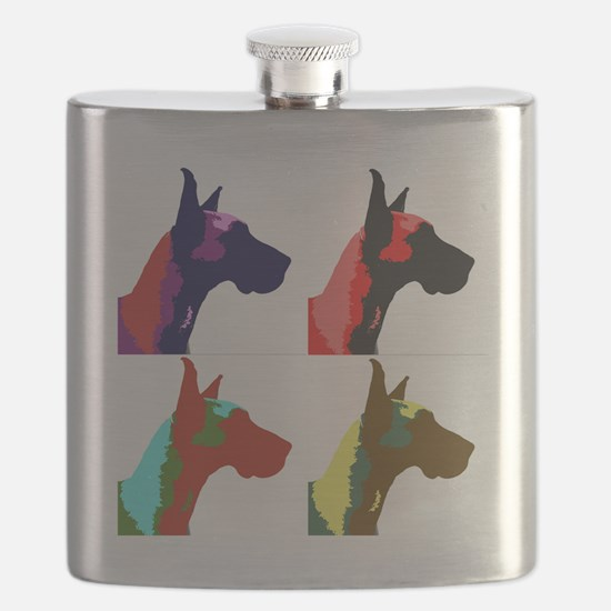Great Dane a la Warhol Flask