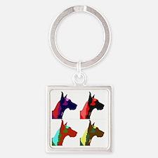 Great Dane a la Warhol Square Keychain