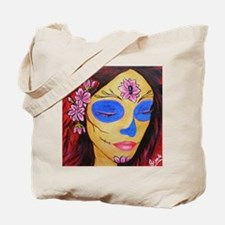 Cherry Blossom Sugar Skull Tote Bag