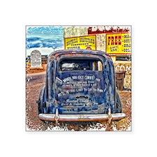 "Black Old West Hearse Square Sticker 3"" x 3"""