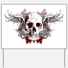 Dark Red Skull Yard Sign