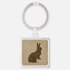Vintage Rabbit Square Keychain