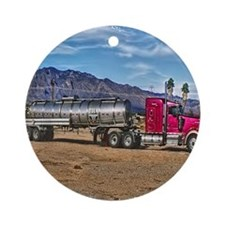 Red Semi 18-Wheeler Truck Round Ornament