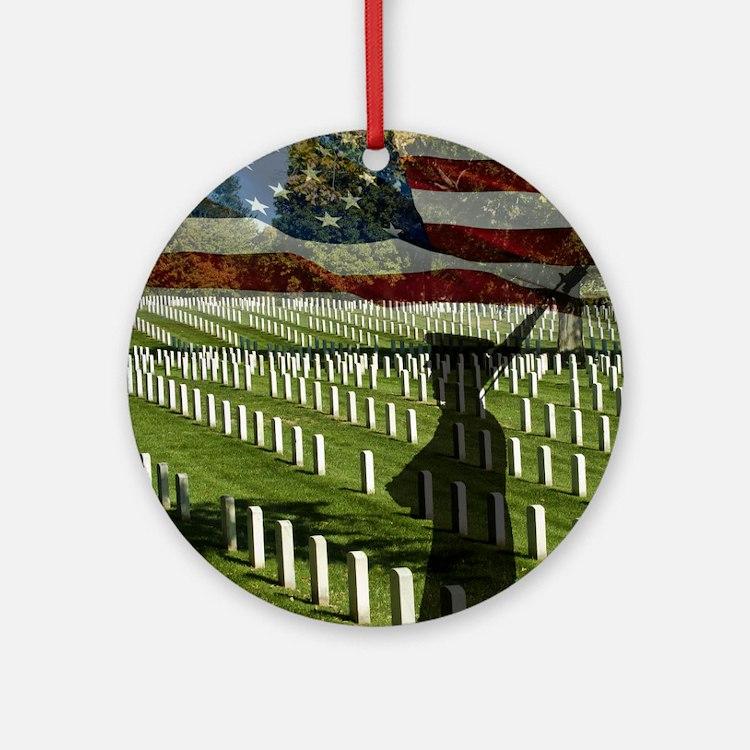 Guard at Arlington National Cemeter Round Ornament