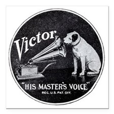 "His Masters voice Square Car Magnet 3"" x 3"""