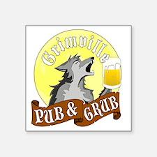 """Grimville Pub Grub Square Sticker 3"""" x 3"""""""