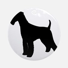 Airedale Black Silhouette Round Ornament