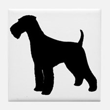 Airedale Black Silhouette Tile Coaster