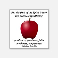 "Apple - Fruit of the Spirit Square Sticker 3"" x 3"""