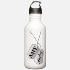 Cute Navy Baby Dog Tag Water Bottle