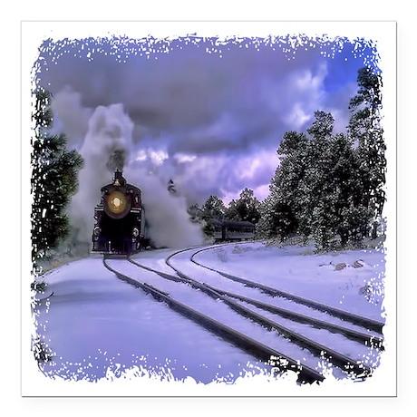 "Snow Train Square Car Magnet 3"" x 3"""