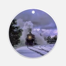 Snow Train Round Ornament