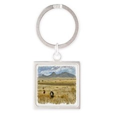 Cattle Field Square Keychain