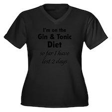 ginTonicDiet Women's Plus Size Dark V-Neck T-Shirt