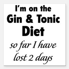 "ginTonicDiet1A Square Car Magnet 3"" x 3"""