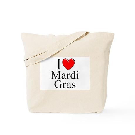 """I Love (Heart) Mardi Gras"" Tote Bag"