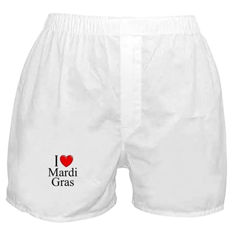 """I Love (Heart) Mardi Gras"" Boxer Shorts"