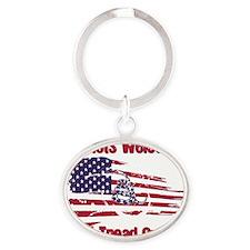 Patriots Welcome - Gadsden Flag Oval Keychain