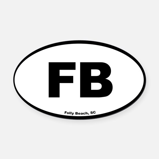 Folly Beach South Carolina EURO Ov Oval Car Magnet