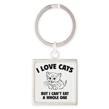 loveCatsEat1A Square Keychain