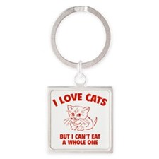 loveCatsEat1D Square Keychain