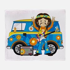 Hippie Boy and Camper Van Throw Blanket