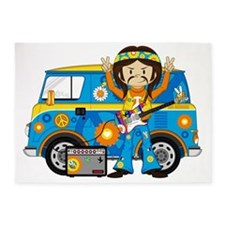 Hippie Boy and Camper Van 5'x7'Area Rug