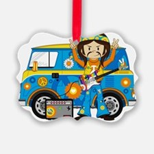 Hippie Boy and Camper Van Ornament