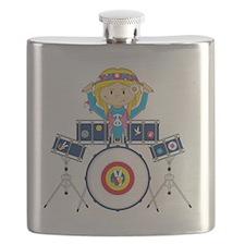 Hippie Girl Drummer Flask