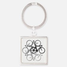 Bicycle circle Square Keychain