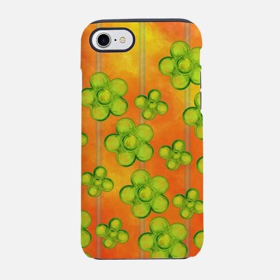 Green Flowers on Orange iPhone 7 Tough Case