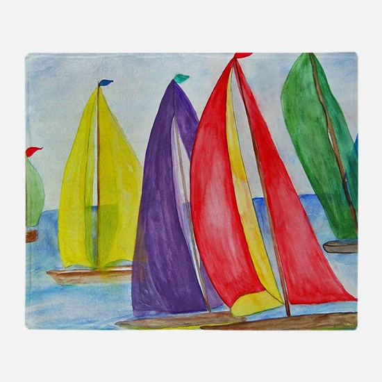 Colorful Sails Throw Blanket