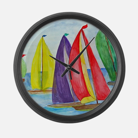 Colorful Sails Large Wall Clock