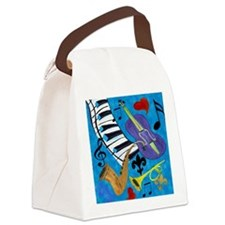 Jazz on Blue Canvas Lunch Bag