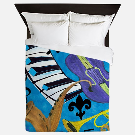 Jazz on Blue Queen Duvet