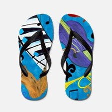 Jazz on Blue Flip Flops
