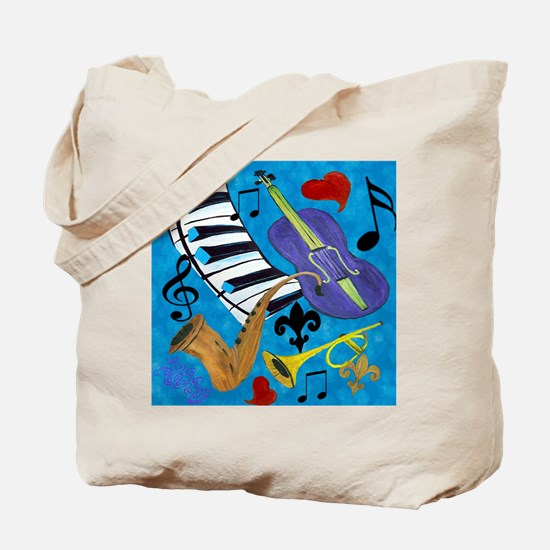 Jazz on Blue Tote Bag