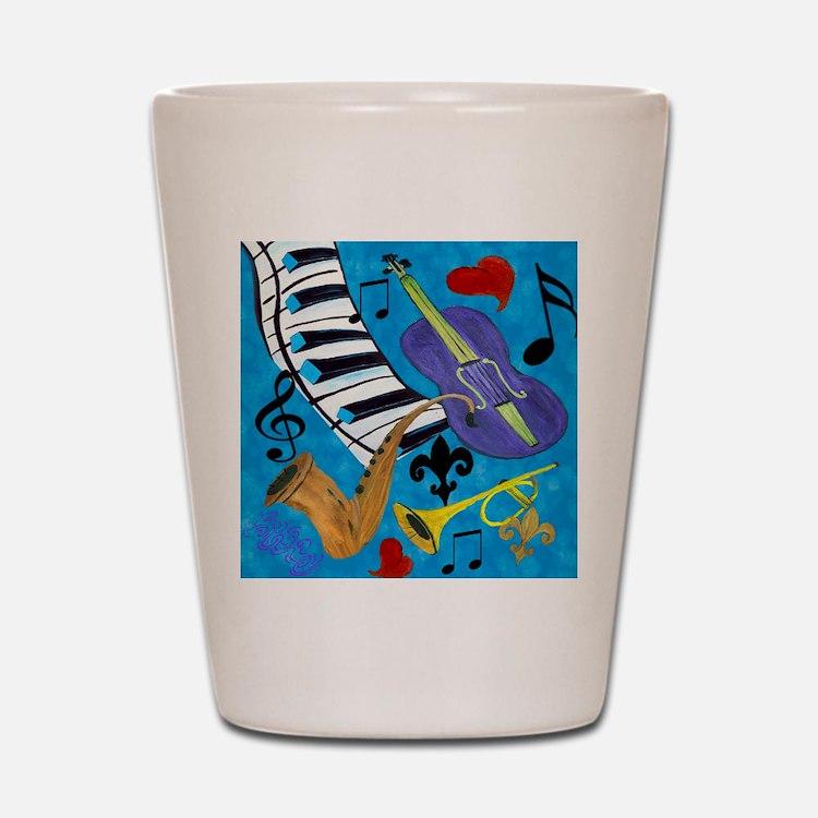 Jazz on Blue Shot Glass