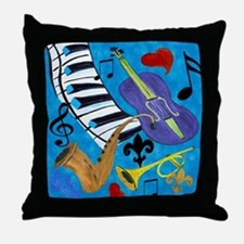 Jazz on Blue Throw Pillow