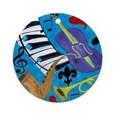 Jazz on Blue Round Ornament